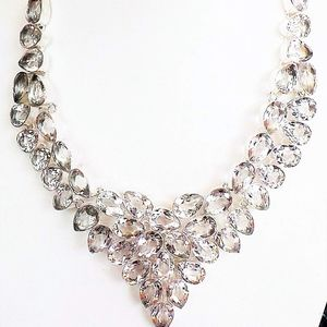White Topaz 925 Sterling Silver Statement Necklace